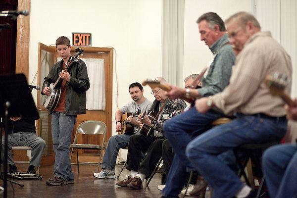 March 4, 2010. Schley, North Carolina.. Every Wednesday people from as far away as Virginia gather at the Ruritan Hall in Schley, NC to take turns playing and singing old country and gospel songs. The weekly event has been going on for the last 10 years with a rotating cast of musicians.