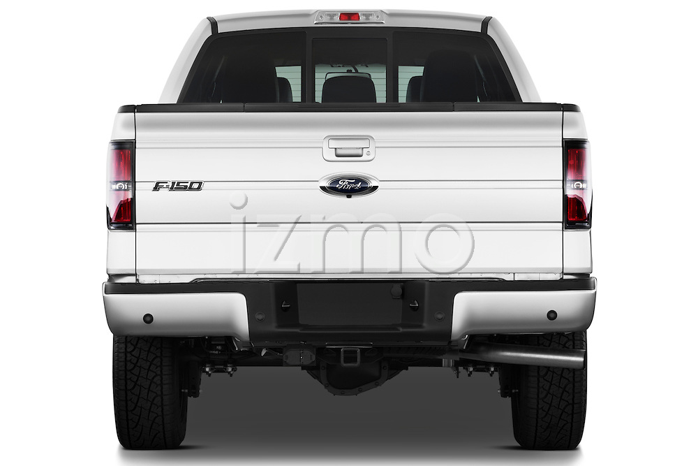 Straight rear view of a   2013 Ford F150 FX4 crew cab