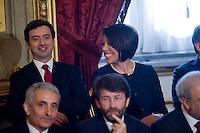 Andrea Orlando, ministro all'Ambiente e Nunzia De Girolamo, ministro per le Politiche Agricole  durante la cerimonia del giuramento del nuovo Governo Letta nel Salone delle Feste del Quirinale.