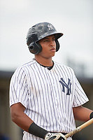 GCL Yankees East first baseman Nelson Alvarez (59) at bat during the first game of a doubleheader against the GCL Blue Jays on July 24, 2017 at the Yankees Minor League Complex in Tampa, Florida.  GCL Blue Jays defeated the GCL Yankees East 6-3 in a game that originally started on July 8th.  (Mike Janes/Four Seam Images)