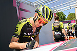 Simon Yates (GBR) Mitchelton-Scott at sign on before the start of Stage 12 of the 2019 Giro d'Italia, running 158km from Cuneo to Pinerolo, Italy. 23rd May 2019<br /> Picture: Gian Mattia D'Alberto/LaPresse | Cyclefile<br /> <br /> All photos usage must carry mandatory copyright credit (© Cyclefile | Gian Mattia D'Alberto/LaPresse)