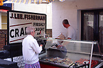 AMFXF2 Crab street fish stall Cromer Norfolk England