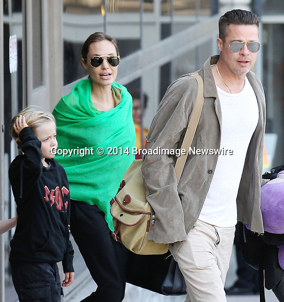 Pictured: Brad Pitt, Angelina Jolie, Shiloh Nouvel Jolie-Pitt, Maddox Chivan Jolie-Pitt, Pax Thien Jolie-Pitt, Knox Leon Jolie-Pitt, Zahara Marley Jolie-Pitt, Vivienne Marcheline Jolie-Pitt<br /> Mandatory Credit &copy; Ben Foster/Broadimage<br /> Brad Pitt, Angelina Jolie and family arriving at the Los Angeles International Airport<br /> <br /> 2/5/14, Los Angeles, California, United States of America<br /> <br /> Broadimage Newswire<br /> Los Angeles 1+  (310) 301-1027<br /> New York      1+  (646) 827-9134<br /> sales@broadimage.com<br /> http://www.broadimage.com<br /> <br /> <br /> Pictured: Brad Pitt, Angelina Jolie, Shiloh Nouvel Jolie-Pitt, Maddox Chivan Jolie-Pitt, Pax Thien Jolie-Pitt, Knox Leon Jolie-Pitt, Zahara Marley Jolie-Pitt, Vivienne Marcheline Jolie-Pitt<br /> Mandatory Credit &copy; Ben Foster/Broadimage<br /> Brad Pitt, Angelina Jolie and family arriving at the Los Angeles International Airport<br /> <br /> 2/5/14, Los Angeles, California, United States of America<br /> Reference: 020514_HDLA_BDG_002<br /> <br /> Broadimage Newswire<br /> Los Angeles 1+  (310) 301-1027<br /> New York      1+  (646) 827-9134<br /> sales@broadimage.com<br /> http://www.broadimage.com