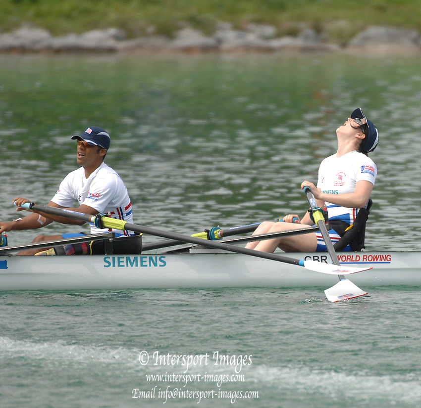 Munich, GERMANY, 28.08.2007, Adaptive rowing, GBR TA2X, Karen CROMIE and James ROBERT,  Third day, at the 2007 World Rowing Championships, taking place on the   Munich Olympic Regatta Course, Bavaria. [Mandatory Credit. Peter Spurrier/Intersport Images]..... , Rowing Course, Olympic Regatta Rowing Course, Munich, GERMANY .  Adaptive, Rowing. Para Rowing,