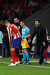 Alvaro Morata and Diego Pablo Simeone coach of Atletico de Madrid celebrate goal during the UEFA Europa League match between Atletico de Madrid and Bayer 04 Leverkusen at Wanda Metropolitano Stadium in Madrid, Spain. October 22, 2019. (ALTERPHOTOS/A. Perez Meca)