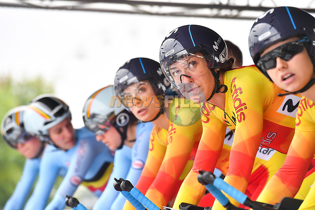 Spanish team on the start ramp of the Team Time Trial Mixed Relay in Harrogate of the UCI World Championships 2019 running from Harrogate to Harrogate, England. 22nd September 2019.<br /> Picture: Simon Wilkinson/SWPix.com   Cyclefile<br /> <br /> All photos usage must carry mandatory copyright credit (© Cyclefile   Simon Wilkinson/SWPix.com)