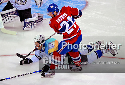 31 January 2009: Los Angeles Kings' defenseman Drew Doughty gets a stick in the face from Montreal Canadiens' left wing forward Christopher Higgins at the Bell Centre in Montreal, Quebec, Canada. The Canadiens defeated the Kings 4-3. ***** Editorial Sales Only ***** Mandatory Photo Credit: Ed Wolfstein Photo