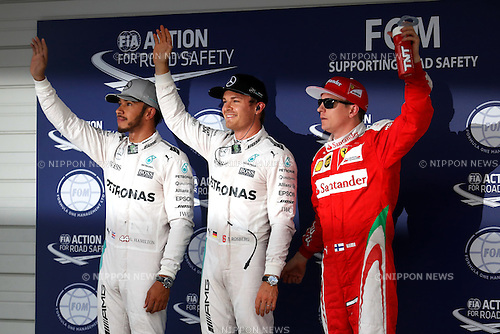 (L-R)  Lewis Hamilton (GBR),  Nico Rosberg (GER),  Kimi Raikkonen (FIN), <br /> OCTOBER 8, 2016 - F1 : Japanese Formula One Grand Prix Qualifying <br /> at Suzuka Circuit in Suzuka, Japan. (Photo by Sho Tamura/AFLO SPORT) GERMANY OUT