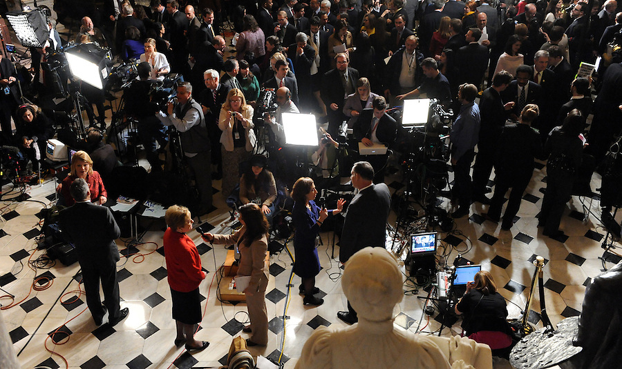 The media conducts interviews in Statuary Hall after the State of the Union address on Wed. Jan. 27, 2010. (Amanda Lucidon)