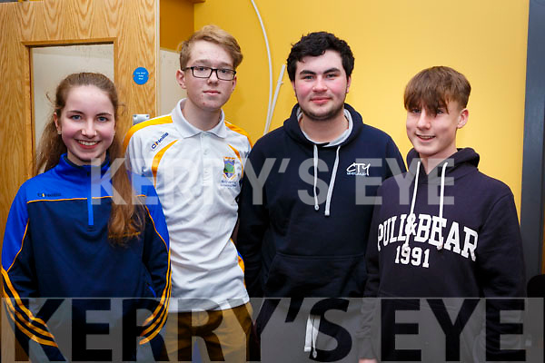 Participating in the Kerry Scor Na nOg in Austin Stack Park on Thursday evening last are, representing the Spa Club from Killarney, l-r, Laura Flemming, Daniel O'Sullivan, Dara Lawlor and Sean Hickey.