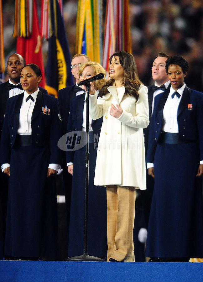 Feb 6, 2011; Arlington, TX, USA; Television actress and singer Lea Michele performs God Bless America before Super Bowl XLV between the Green Bay Packers and the Pittsburgh Steelers at Cowboys Stadium.  Mandatory Credit: Mark J. Rebilas-