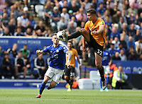 Wolverhampton Wanderers' Leander Dendoncker and Leicester City's James Maddison <br /> <br /> <br /> <br /> Photographer Stephen White/CameraSport<br /> <br /> The Premier League - Leicester City v Wolverhampton Wanderers - Sunday 11th August 2019 - King Power Stadium - Leicester<br /> <br /> World Copyright © 2019 CameraSport. All rights reserved. 43 Linden Ave. Countesthorpe. Leicester. England. LE8 5PG - Tel: +44 (0) 116 277 4147 - admin@camerasport.com - www.camerasport.com