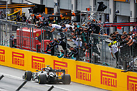 12th July 2020; Styria, Austria; FIA Formula One World Championship 2020, Grand Prix of Styria race day; FIA Formula One World Championship 2020, Grand Prix of Styria,  44 Lewis Hamilton GBR, Mercedes-AMG Petronas Formula One Team takes the chequred flag and win