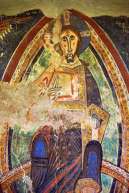 Second half of the twelfth Century Romanesque frescoes of the Apse d'Esterri de Cardos depicting Christ Pantocrator. The church of Sant Pau d'Estirri de Cardos, Spain. National Art Museum of Catalonia, Barcelona. MNAC 15970
