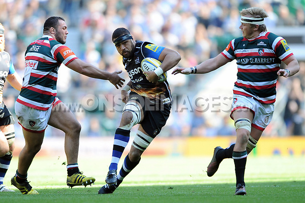 Taulupe Faletau of Bath Rugby in possession. The Clash, Aviva Premiership match, between Bath Rugby and Leicester Tigers on April 8, 2017 at Twickenham Stadium in London, England. Photo by: Rob Munro / Onside Images