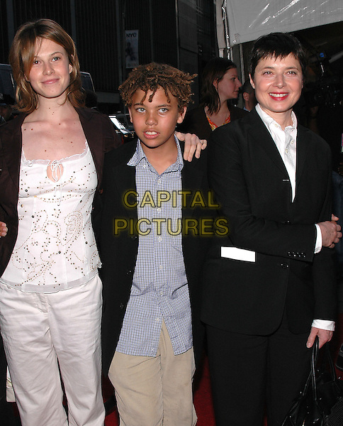 "ISABELLA ROSSELLINI & ELETTRA-INGRID & ROBERTO.Premiere of ""Star Wars III Revenge of the Sith"" at the Ziegfeld Theater in Manhattan. New York, New York.May 12th, 2005.Photo Credit: Patti Ouderkirk/AdMedia.half length family children parent mother black suit bag purse.www.capitalpictures.com.sales@capitalpictures.com.© Capital Pictures."