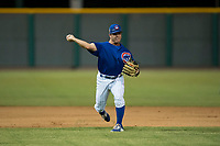 AZL Cubs 1 shortstop Clayton Daniel (25) throws to first base during an Arizona League game against the AZL Padres 1 at Sloan Park on July 5, 2018 in Mesa, Arizona. The AZL Cubs 1 defeated the AZL Padres 1 3-1. (Zachary Lucy/Four Seam Images)