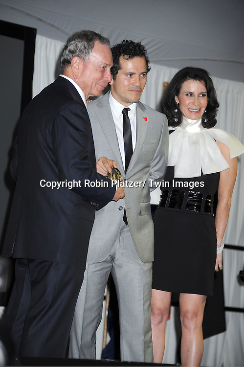 """Mayor Michael Bloomberg, John Leguizamo and Katherine Oliver attending The """"Made in NY"""" Awards at Gracie Mansion.on June 6, 2011. Matt Damon, John Leguizammo and Lauren Zalaznick and Sidney Lumet were the honorees."""