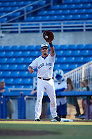 Dunedin Blue Jays first baseman Max Pentecost (10) receives a throw during a game against the St. Lucie Mets on April 20, 2017 at Florida Auto Exchange Stadium in Dunedin, Florida.  Dunedin defeated St. Lucie 6-4.  (Mike Janes/Four Seam Images)