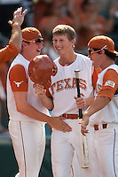 Texas third baseman Erich Weiss #6 smiles after he scored the Longhorns first run in the bottom of the ninth inning at the NCAA baseball game against the Texas A&M Aggies on April 29, 2012 at UFCU Disch-Falk Field in Austin, Texas. The Longhorns rallied to beat the Aggies 2-1 in the last ever regular season game scheduled for the long time rivals. (Andrew Woolley / Four Seam Images)