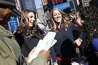 NEW YORK - OCT 29: USA Hockey players Hilary Knight (L) and Meghan Duggan do interviews. Olympic athletes participate in 100 Days to Sochi, a promotional event for the US Olympic Team, on Tuesday, October 29, 2013 in New York City. (Photo by Landon Nordeman)
