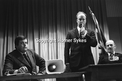 National Front NF meeting after march through Birmingham suburb of Walsall North during a by election. L-R Martin Webster, John Tyndall and the NF candidate Charles Parker...My ref 3a/1438/, 1976,