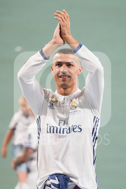 Real Madrid Cristiano Ronaldo during the celebration of the 13th UEFA Championship at Santiago Bernabeu Stadium in Madrid, June 04, 2017. Spain.<br /> (ALTERPHOTOS/BorjaB.Hojas)