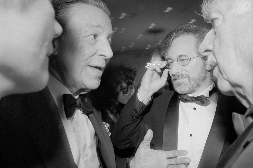Steven Spielberg with Mike Wallace (left) and Walter Cronkite (right) at the Steven Spielberg Tribute, Waldorf Astoria hotel, NYC, 1993