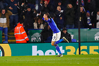 9th November 2019; King Power Stadium, Leicester, Midlands, England; English Premier League Football, Leicester City versus Arsenal; Jamie Vardy of Leicester City celebrates his goal after 68 minutes (1-0) - Strictly Editorial Use Only. No use with unauthorized audio, video, data, fixture lists, club/league logos or 'live' services. Online in-match use limited to 120 images, no video emulation. No use in betting, games or single club/league/player publications