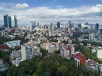Mexico City seen from Parque Mexico, Colonia Condesa, Mexico City, Mexico