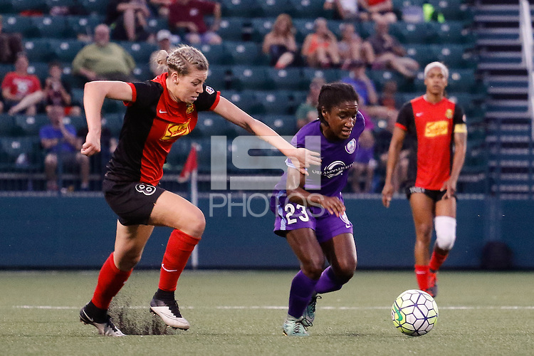 Rochester, NY - Saturday June 11, 2016: Orlando Pride forward Jasmyne Spencer (23), Western New York Flash defender Alanna Kennedy (8) during a regular season National Women's Soccer League (NWSL) match between the Western New York Flash and the Orlando Pride at Rochester Rhinos Stadium.