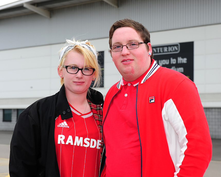 Middlesbrough fans outside the ground before their side's game against Doncaster Rovers<br /> <br /> Photographer Chris Vaughan/CameraSport<br /> <br /> Football - Pre-Season Friendly - Doncaster Rovers v Middlesbrough - Saturday 25th July 2015 - Keepmoat Stadium, Doncaster<br /> <br /> &copy; CameraSport - 43 Linden Ave. Countesthorpe. Leicester. England. LE8 5PG - Tel: +44 (0) 116 277 4147 - admin@camerasport.com - www.camerasport.com