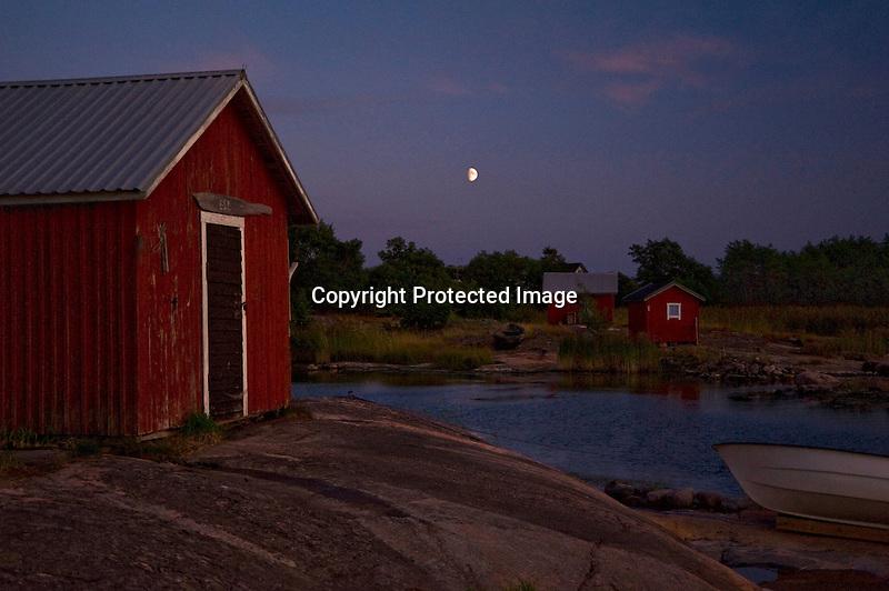 Moon over Quiet Harbor on the Island of Kökar