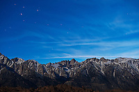 Evening sky over Mount Whitney and Sierra Nevada Mountains, Alabama Hills, California, USA