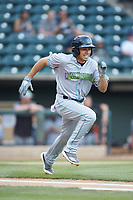 Jodd Carter (7) of the Lynchburg Hillcats hustles down the first base line against the Winston-Salem Dash at BB&T Ballpark on May 9, 2019 in Winston-Salem, North Carolina. The Dash defeated the Hillcats 4-1. (Brian Westerholt/Four Seam Images)