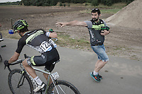 Roy Goldstein (ISR/Cycling Academy) getting handed a bidon<br /> <br /> 91st Schaal Sels 2016