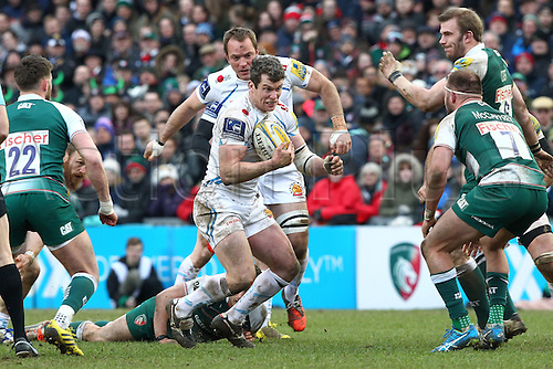 06.03.2016. Welford Road, Leicester, England. Aviva Premiership. Leicester Tigers versus Exeter Chiefs.  Ian Whitten on the charge for Exeter.