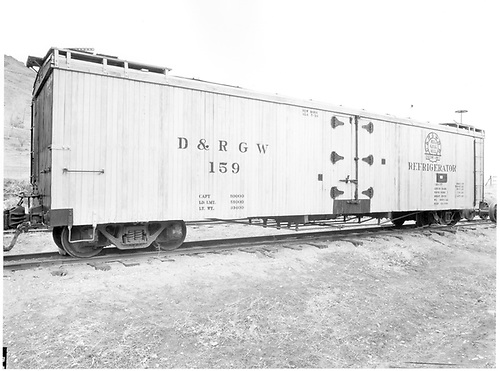 Long reefer #159.<br /> D&amp;RGW  Colorado Railroad Museum, Golden ?, CO  Taken by Payne, Andy M. - 3/3/1974