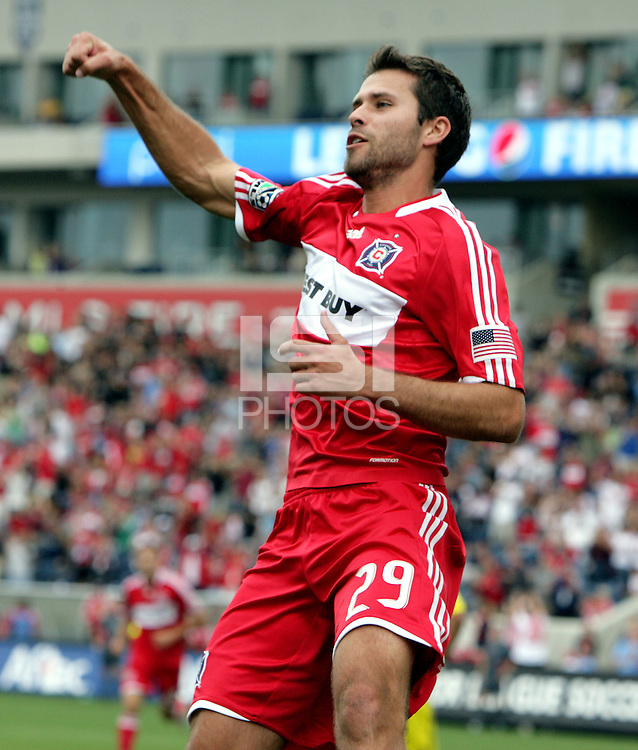 Chicago Fire midfielder Peter Lowry (29) pumps his fist in the air after scoring his second goal of the match.  The Columbus Crew tied the Chicago Fire 2-2 at Toyota Park in Bridgeview, IL on September 20, 2009.