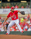 24 February 2019: St. Louis Cardinals pitcher Michael Wacha on the mound to start a Spring Training game against the Washington Nationals at Roger Dean Stadium in Jupiter, Florida. The Cardinals fell to the Nationals 12-2 in Grapefruit League play. Mandatory Credit: Ed Wolfstein Photo *** RAW (NEF) Image File Available ***