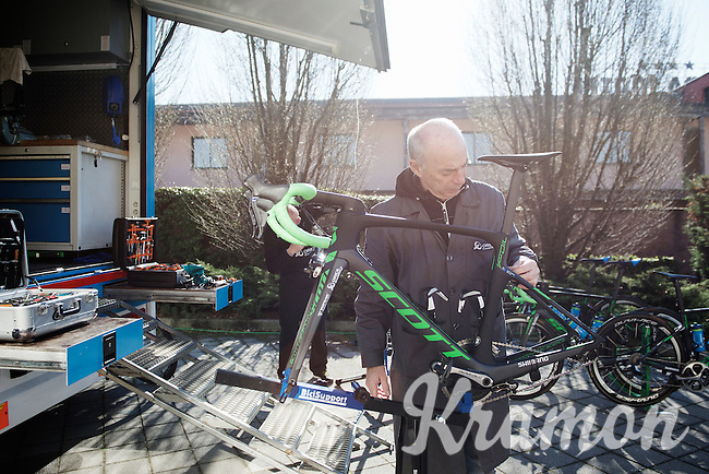 checking the bikes 1 day ahead of Milan-San Remo
