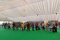 Pictured: A queue of people wait to have their books signed by Helen Pankhurst in the book shop.<br /> Re: Hay Festival at Hay on Wye, Powys, Wales, UK. Friday 25 May 2018