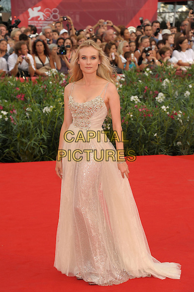 Diane Kruger (wearing Elie Saab).'The Ides of March' screening.68th Venice International Film Festival, Italy 31st August 2011.full length embellished bodice nude tulle dress gown sheer beige gold .CAP/PL.©Phil Loftus/Capital Pictures.