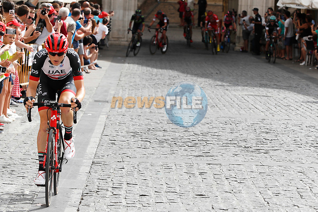 Matej Mohoric (SLO) UAE Team Emirates attacks from the breakaway group on Alto del Castillo during Stage 7 of the 2017 La Vuelta, running 207km from Ll&iacute;ria-Cuenca, Spain. 25th August 2017.<br /> Picture: Unipublic/&copy;photogomezsport | Cyclefile<br /> <br /> <br /> All photos usage must carry mandatory copyright credit (&copy; Cyclefile | Unipublic/&copy;photogomezsport)