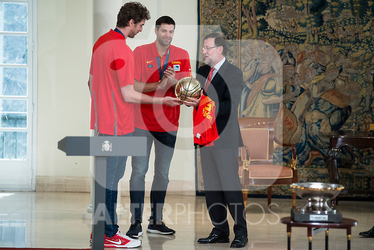 The reception of Prime Minister Mariano Rajoy to Spain national basketball team gold at EuroBasket 2015 at Moncloa Palace in Madrid, 21 September, 2015.<br /> Pau Gasol delivers Golden Ball to Prime Minister Mariano Rajoy.<br /> (ALTERPHOTOS/BorjaB.Hojas)