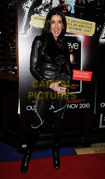 JANICE DICKINSON .Attending Eddie Izzard's DVD Premiere at Cineworld Haymarket, London, England, UK, November 18th 2010..full length black leather jacket leggings boots clutch bag mouth open.CAP/CAN.©Can Nguyen/Capital Pictures.