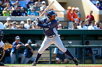 Tampa Bay Rays outfielder James Harris #16 during a Spring Training game against the Detroit Tigers at Joker Marchant Stadium on March 29, 2013 in Lakeland, Florida.  (Mike Janes/Four Seam Images)