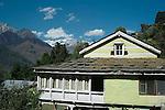 Traditional houses in the Kullu Valley, Himachal Pradesh, India.