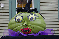 Green witch pumpkin at the Damariscotta pumpkin festival, Maine, USA