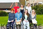 Colaiste na Sceilge students in Cahersiveen are happy with their leaving cert results pictured here front l-r; Joe Cunningham, Owain Humphreys, Bridget Casey, Nina Koch, back l-r; Kevin O'Sullivan, Nicola O'Sullivan & Brandon Moran.